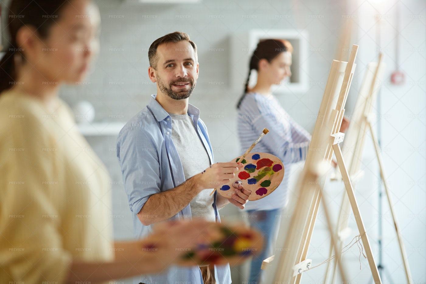 Work In Studio Of Arts: Stock Photos