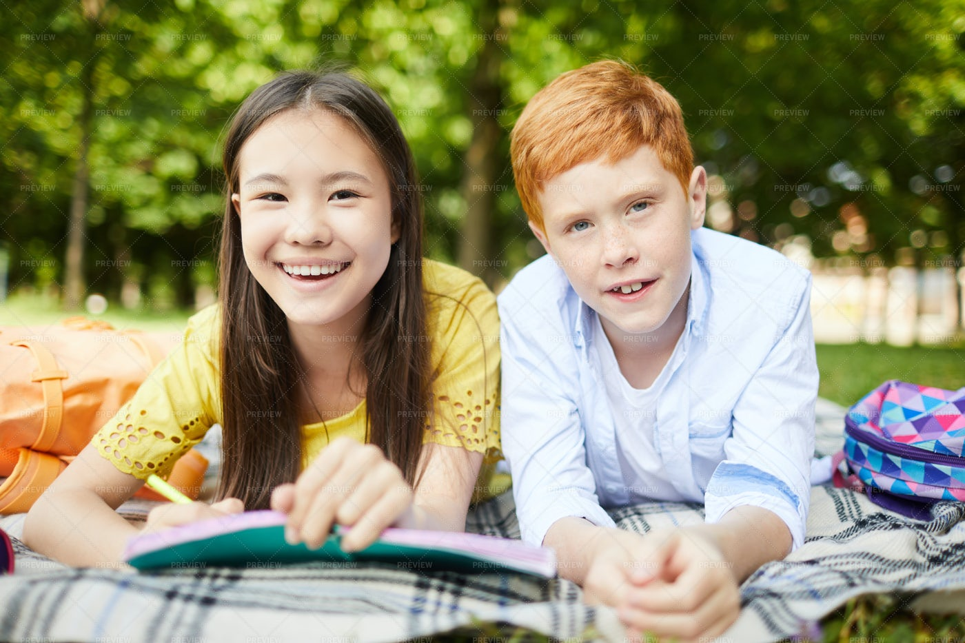 Smiling Kids In Park: Stock Photos