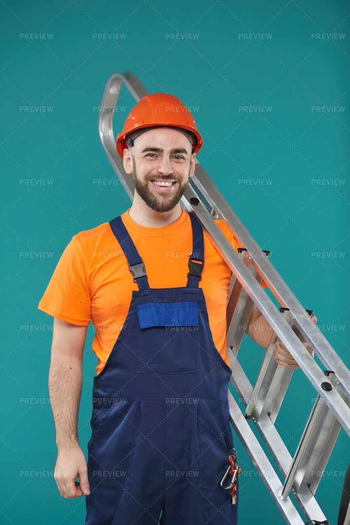 Young Man With Portable Ladder: Stock Photos