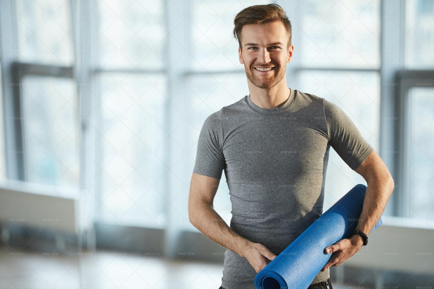Young Yoga Coach In Own Studio: Stock Photos