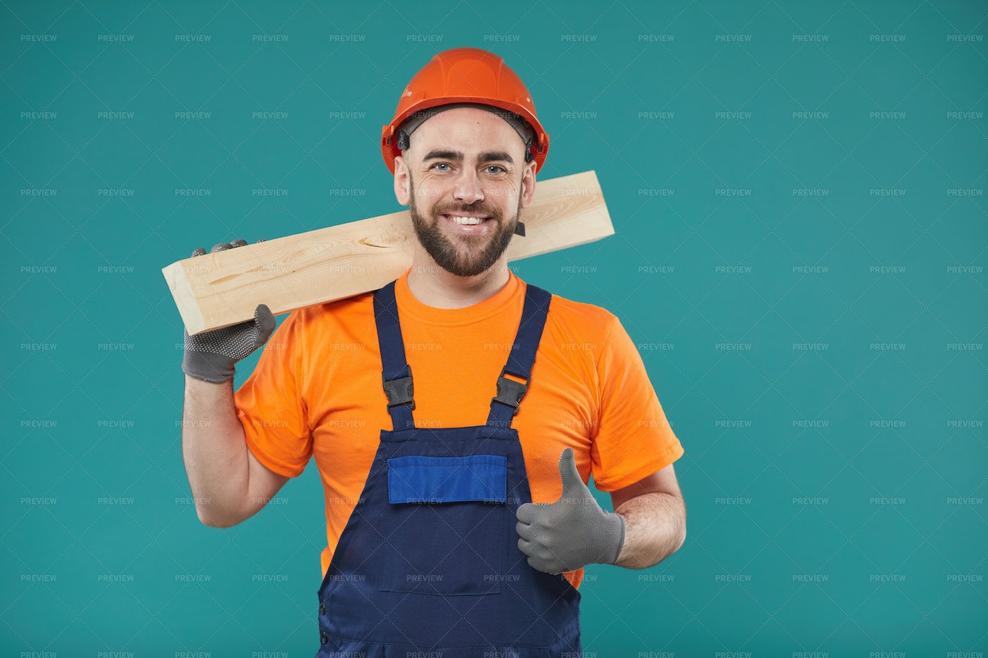 Cheerful Carpenter With Thumb Up: Stock Photos