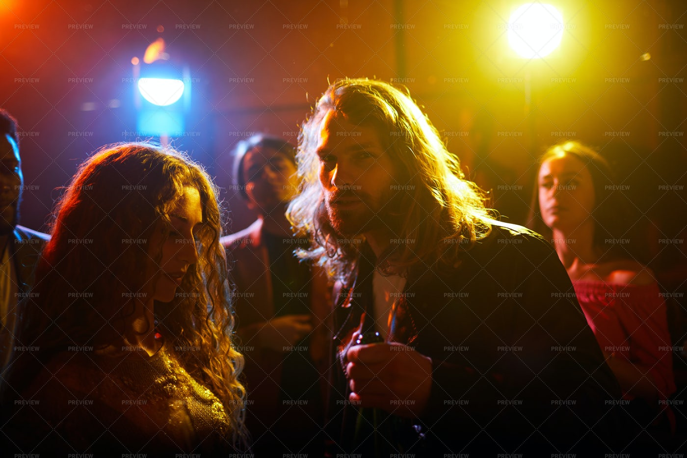Long-haired Guy At Party: Stock Photos
