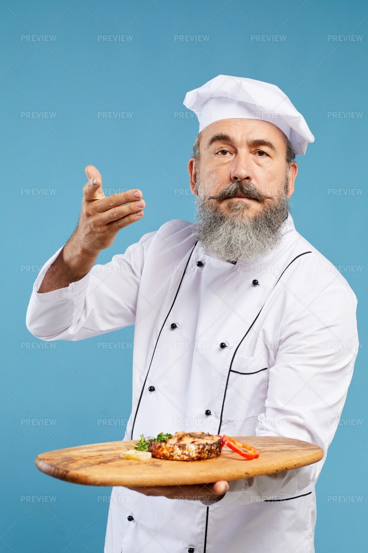Professional Chef Presenting Rustic...: Stock Photos