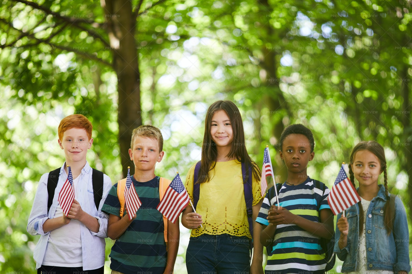 School Children With American Flags: Stock Photos