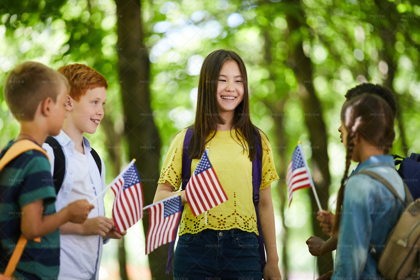 Kids Chatting About America: Stock Photos