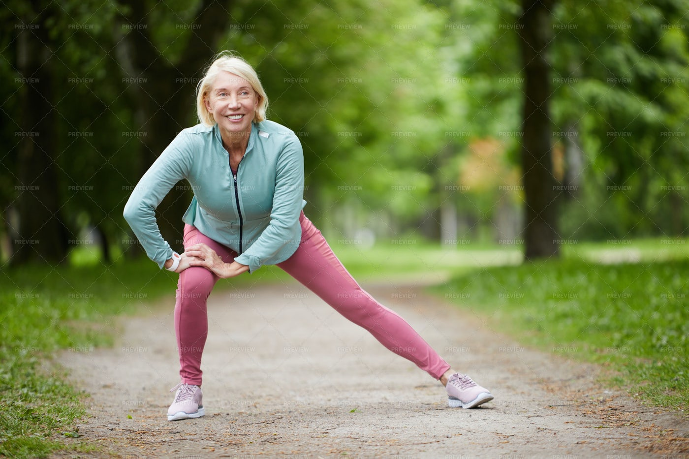 Exercising On Path: Stock Photos
