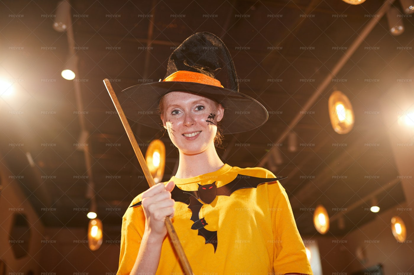 Adult Woman In Witch Costume On...: Stock Photos