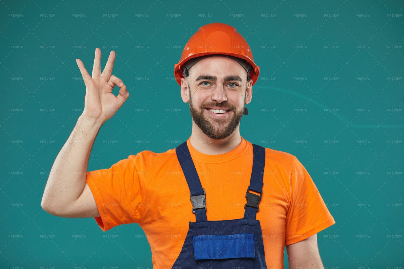 Manual Worker Showing OK Gesture: Stock Photos