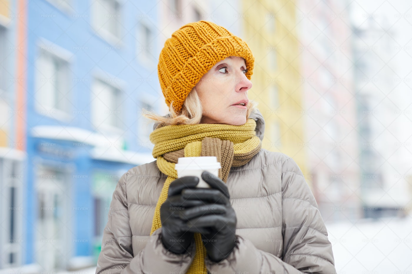 Woman Drinking Coffee In Winter: Stock Photos