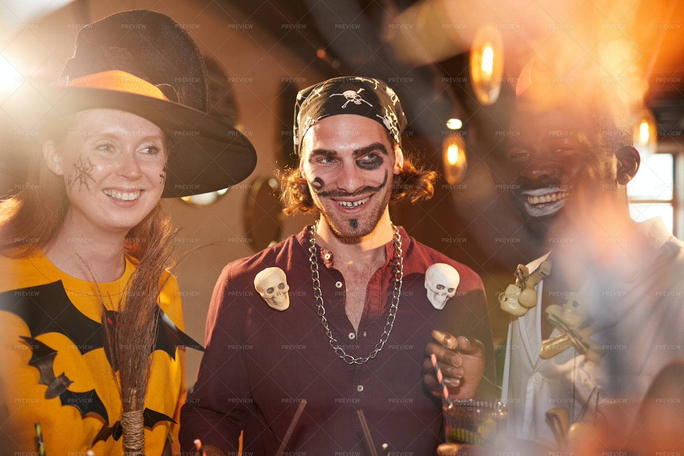 Young People Wearing Halloween...: Stock Photos