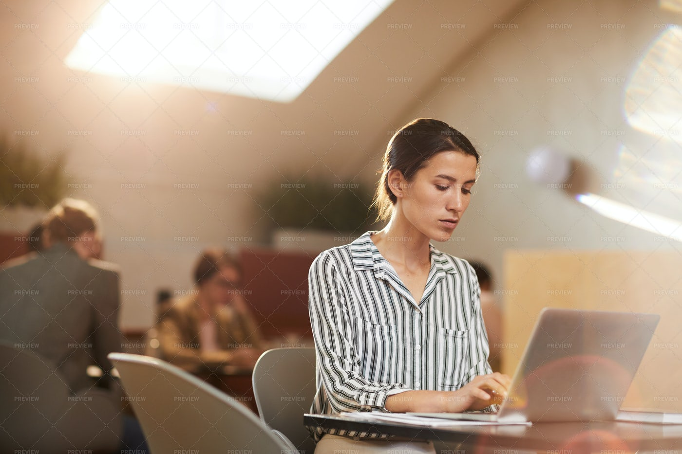 Woman Using Laptop In Cafe: Stock Photos