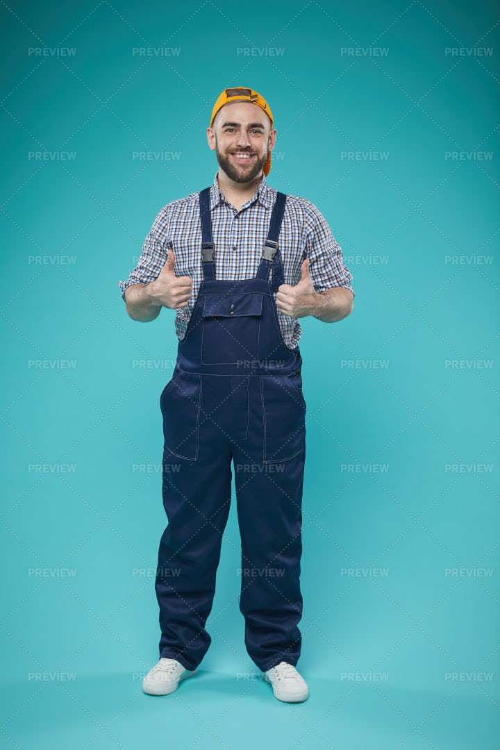 Happy Construction Worker Full Shot: Stock Photos