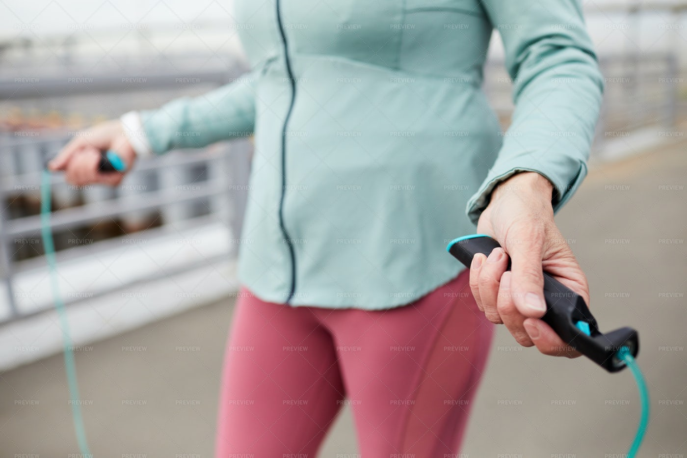 Hands With Skipping Rope: Stock Photos