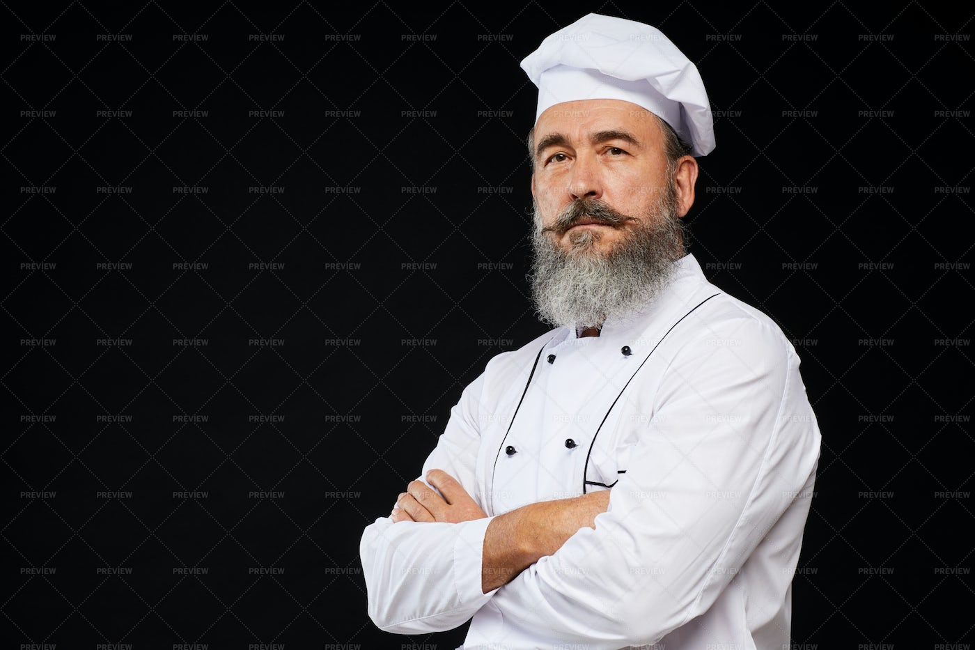 Professional Chef On Black: Stock Photos