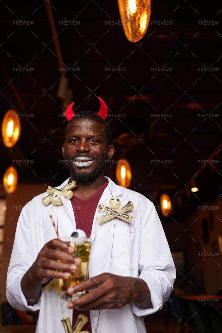 African-American Man At Halloween...: Stock Photos