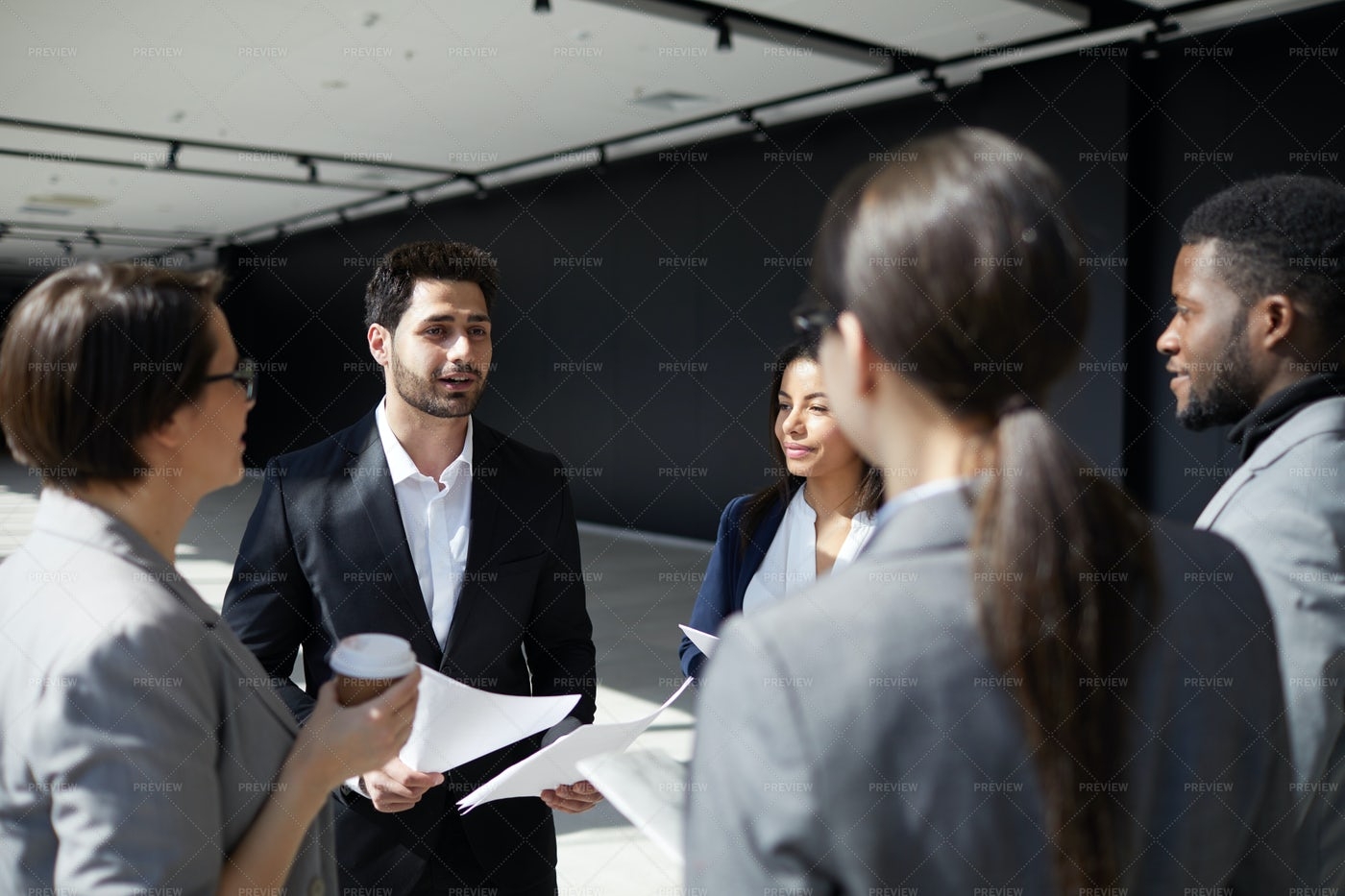 Modern Business Colleagues Sharing...: Stock Photos