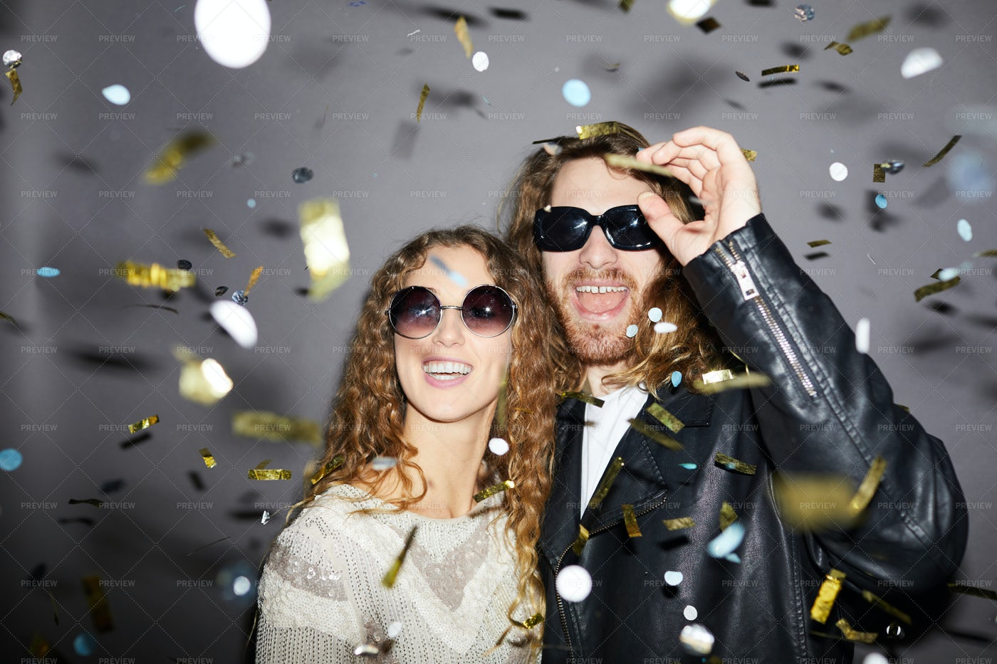 Excited Couple Under Golden...: Stock Photos