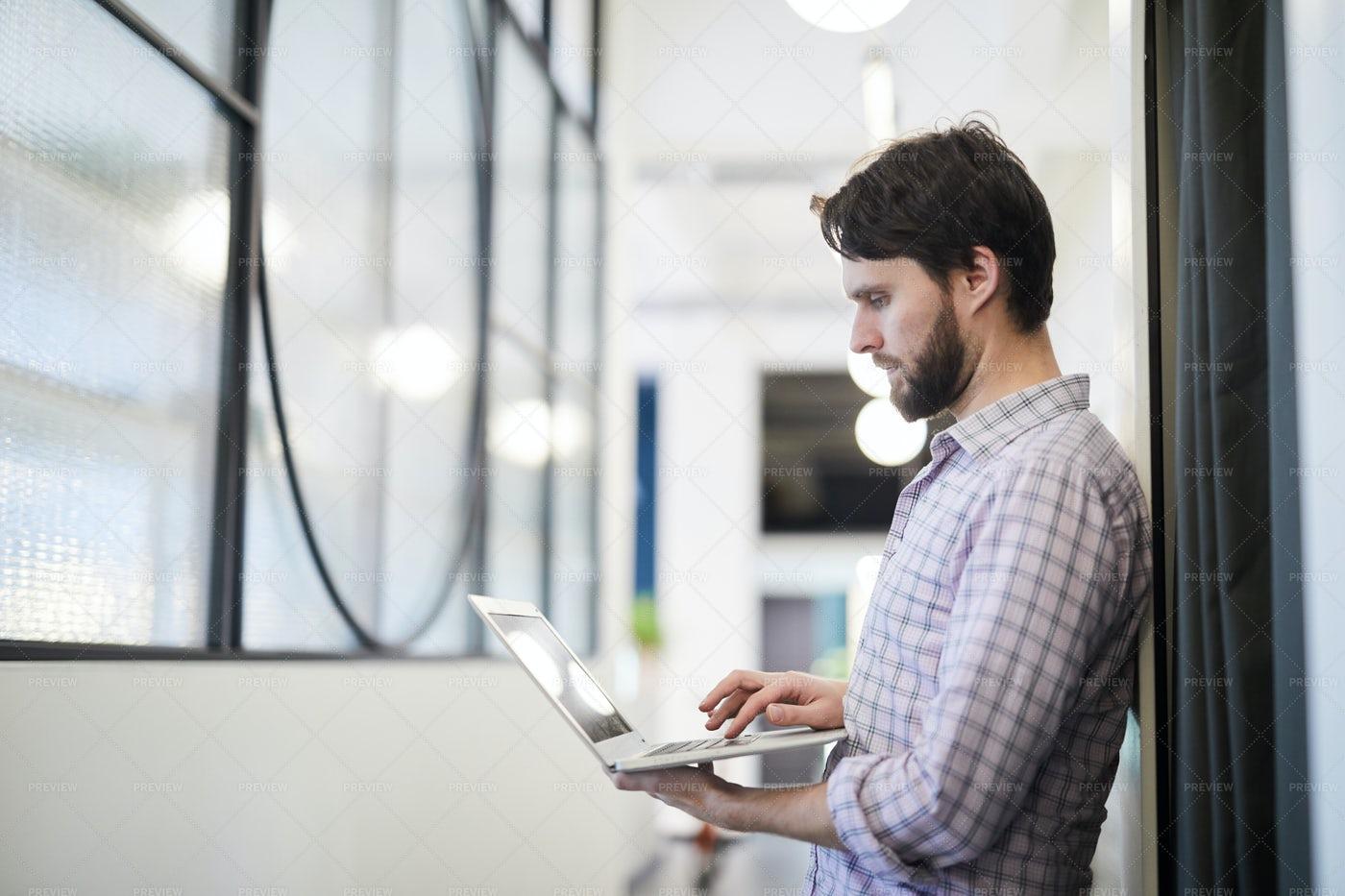 Man Focused On Online Data: Stock Photos