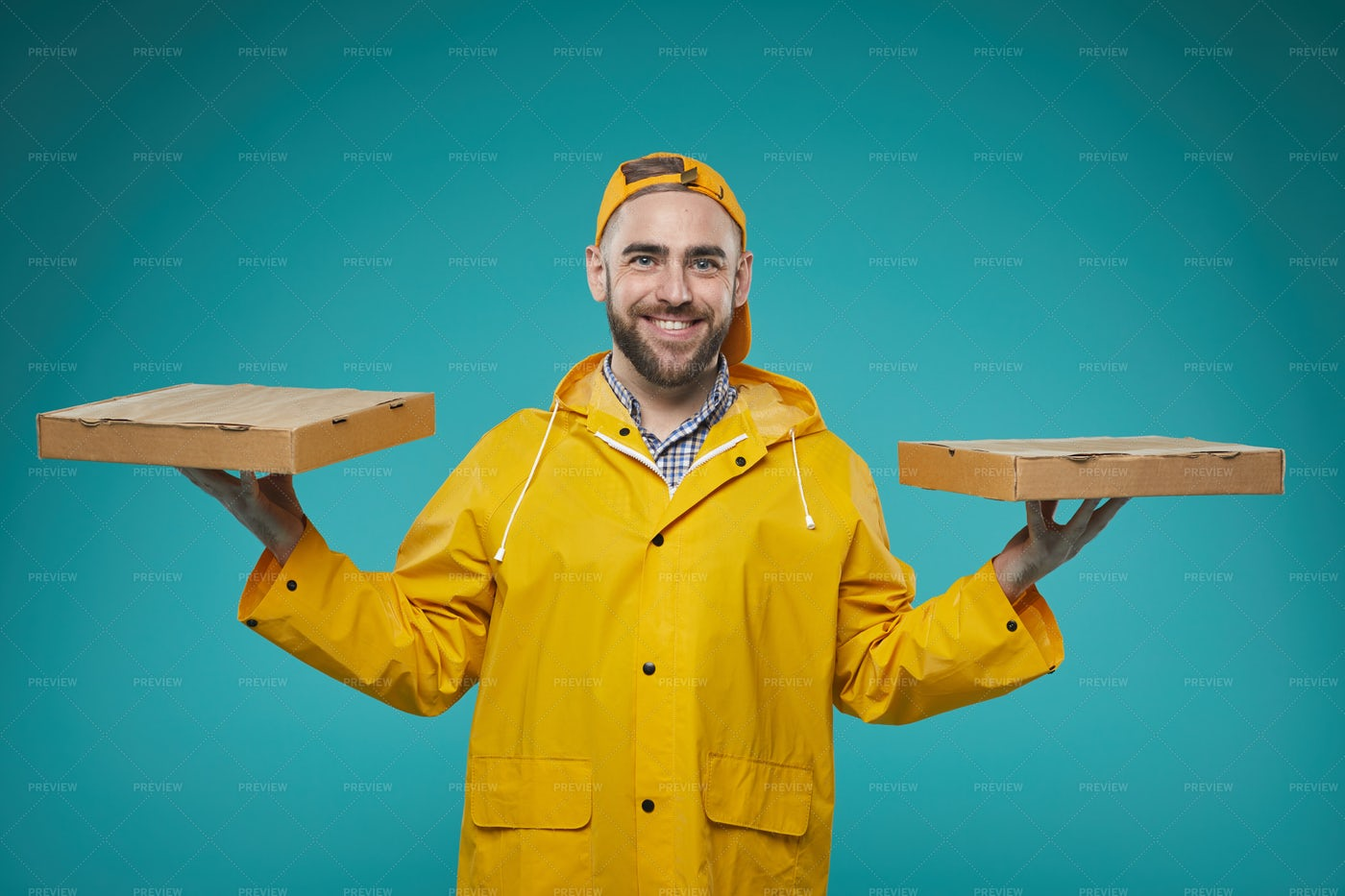 Food Delivery Man With Pizza Boxes: Stock Photos