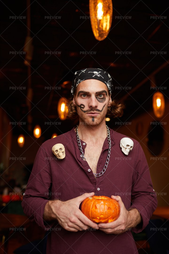 Young Man At Halloween Party In...: Stock Photos