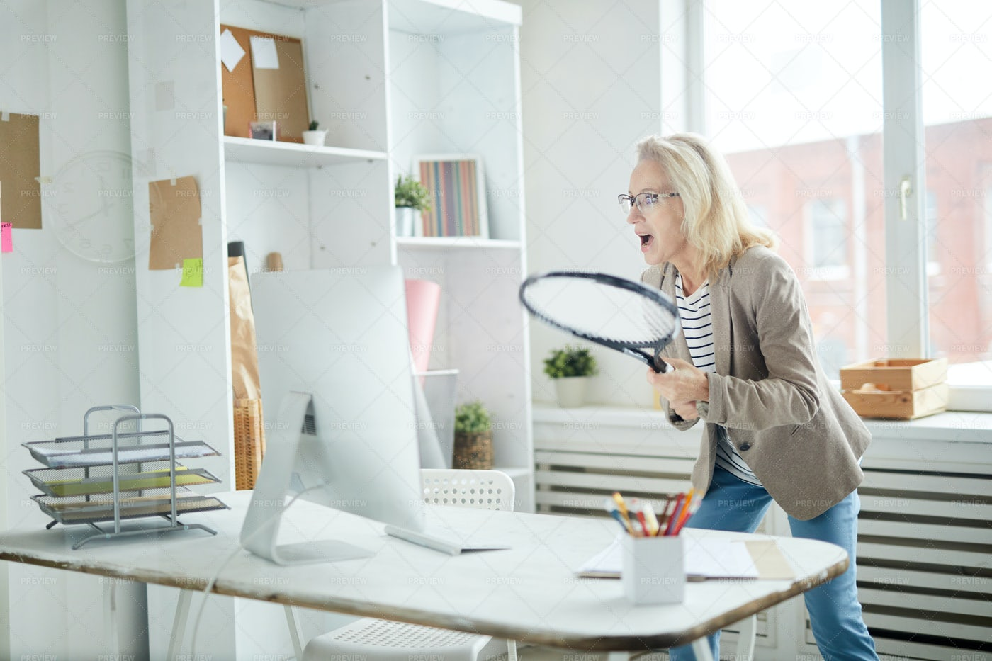 Mature Woman Cheering For Sports...: Stock Photos