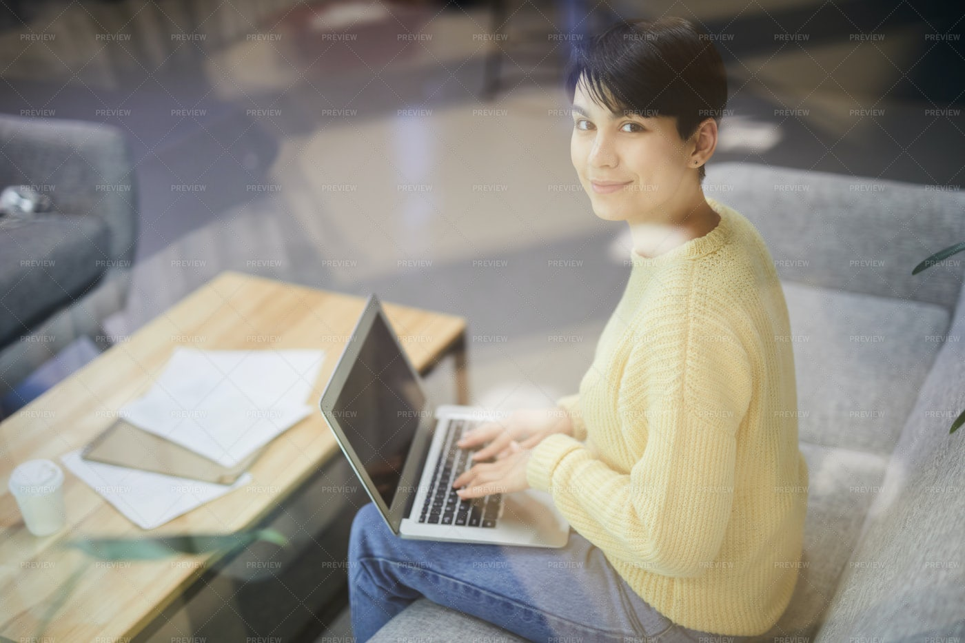 Content Lady Freelancer Working In...: Stock Photos