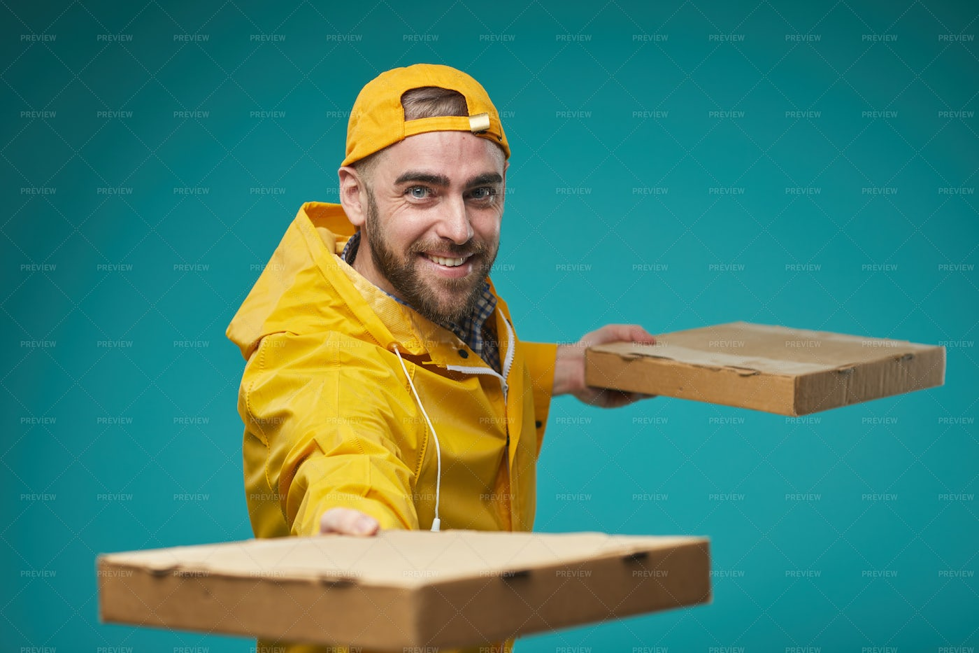 Pizza Man Delivering Order: Stock Photos