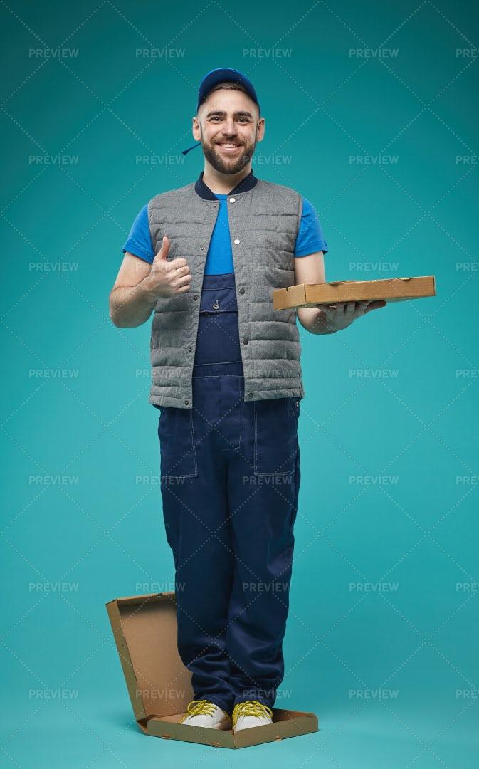 Funny Pizza Man Full Shot: Stock Photos