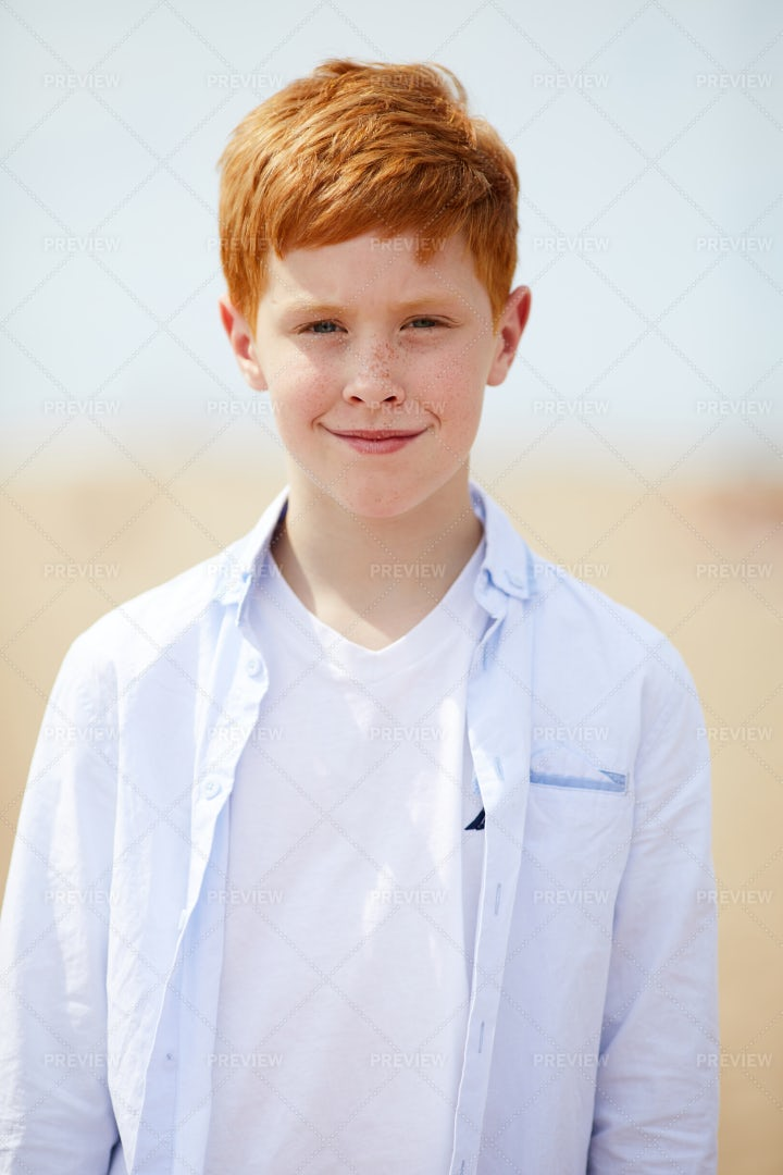 Portrait Of Redhead Boy: Stock Photos