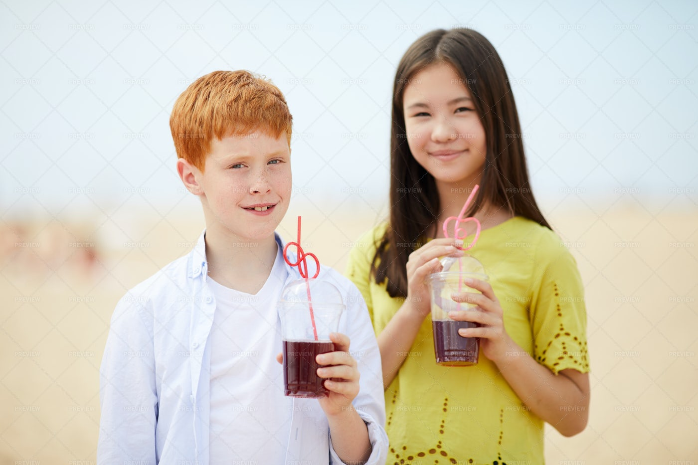 Interracial Children With Summer...: Stock Photos