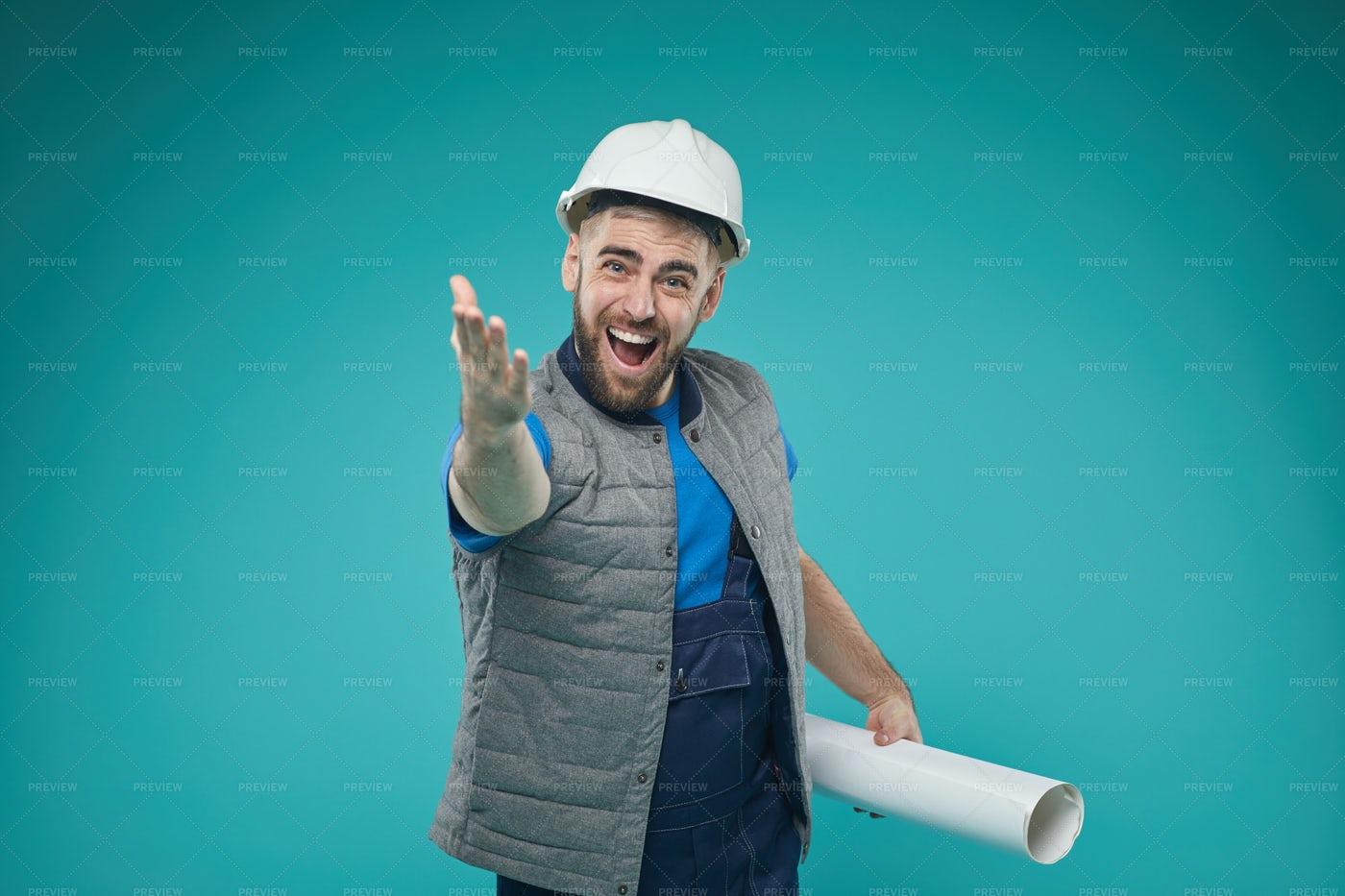 Construction Engineer Shouting...: Stock Photos