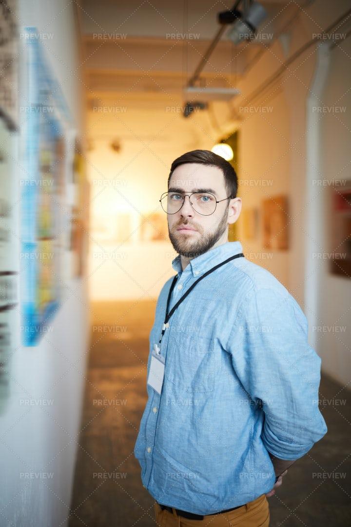 Pensive Man In Art Gallery: Stock Photos