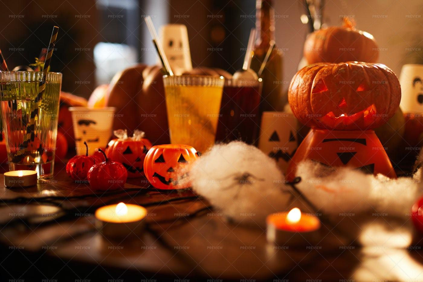 Halloween Decorations Background: Stock Photos