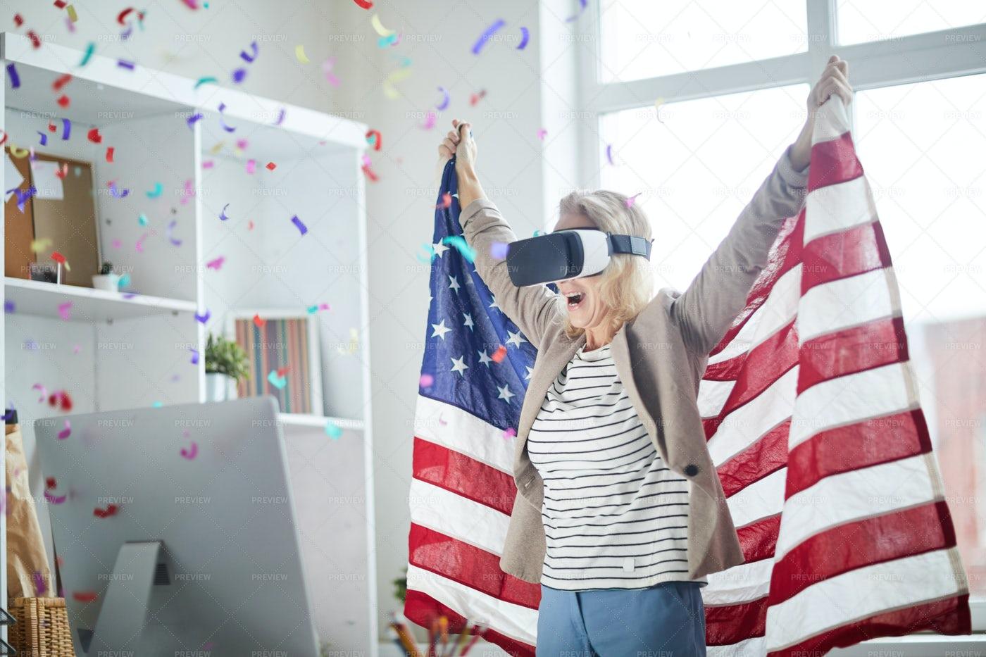 Fan Cheering In VR: Stock Photos