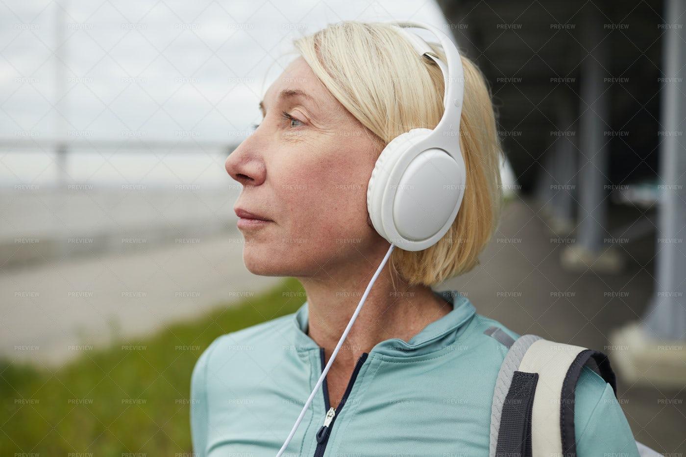 Woman With Headphones: Stock Photos