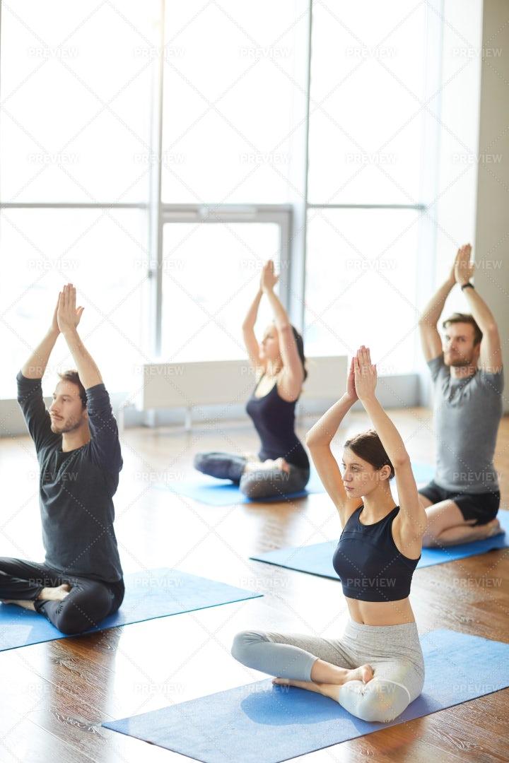 Sun Meditation At Yoga Class: Stock Photos