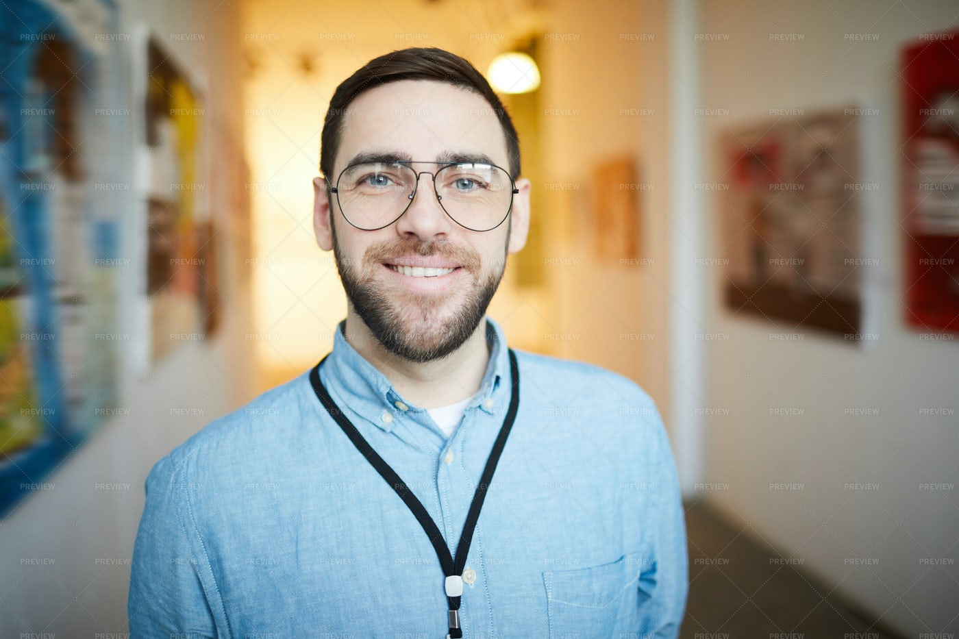 Smiling Bearded Man In Art Gallery: Stock Photos