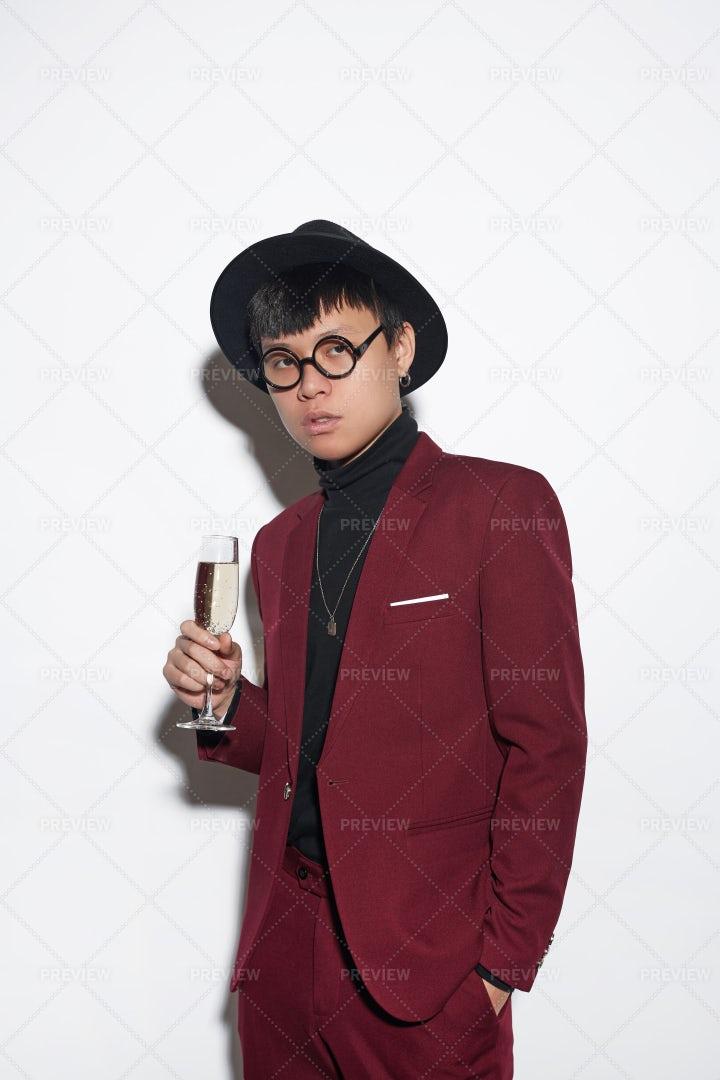 Trendy Asian Man At Party: Stock Photos