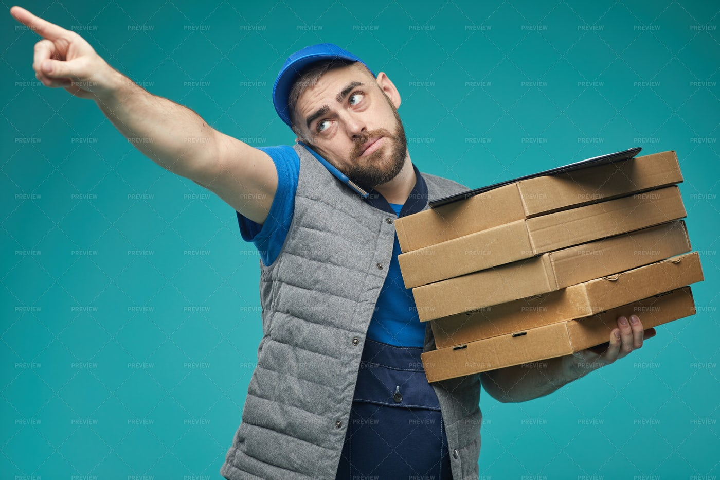 Busy Delivery Man Working: Stock Photos