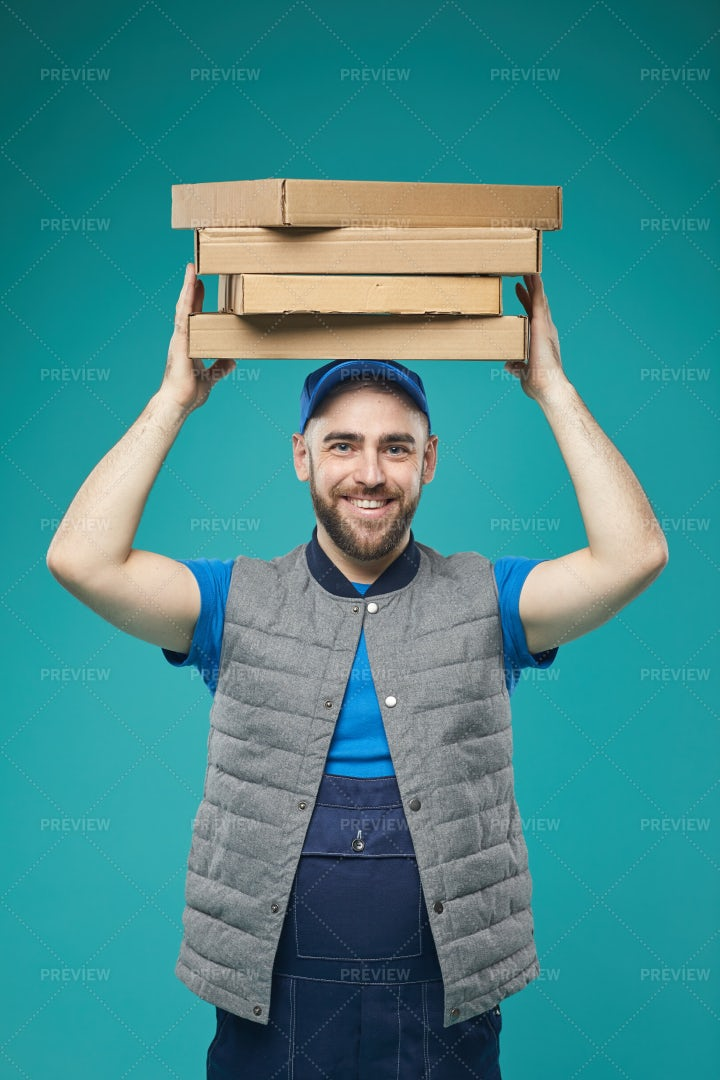 Happy Delivery Worker Portrait: Stock Photos