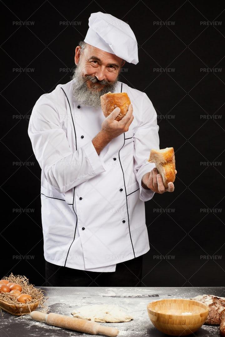 Cheerful Bearded Baker: Stock Photos