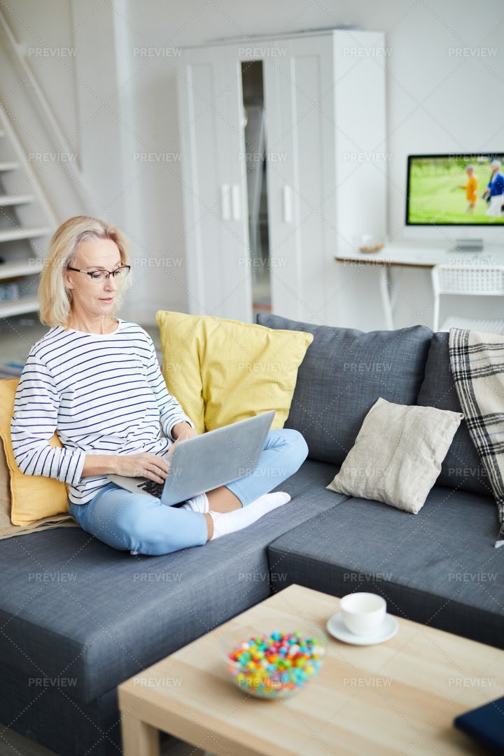 Contemporary Adult Woman At Home: Stock Photos
