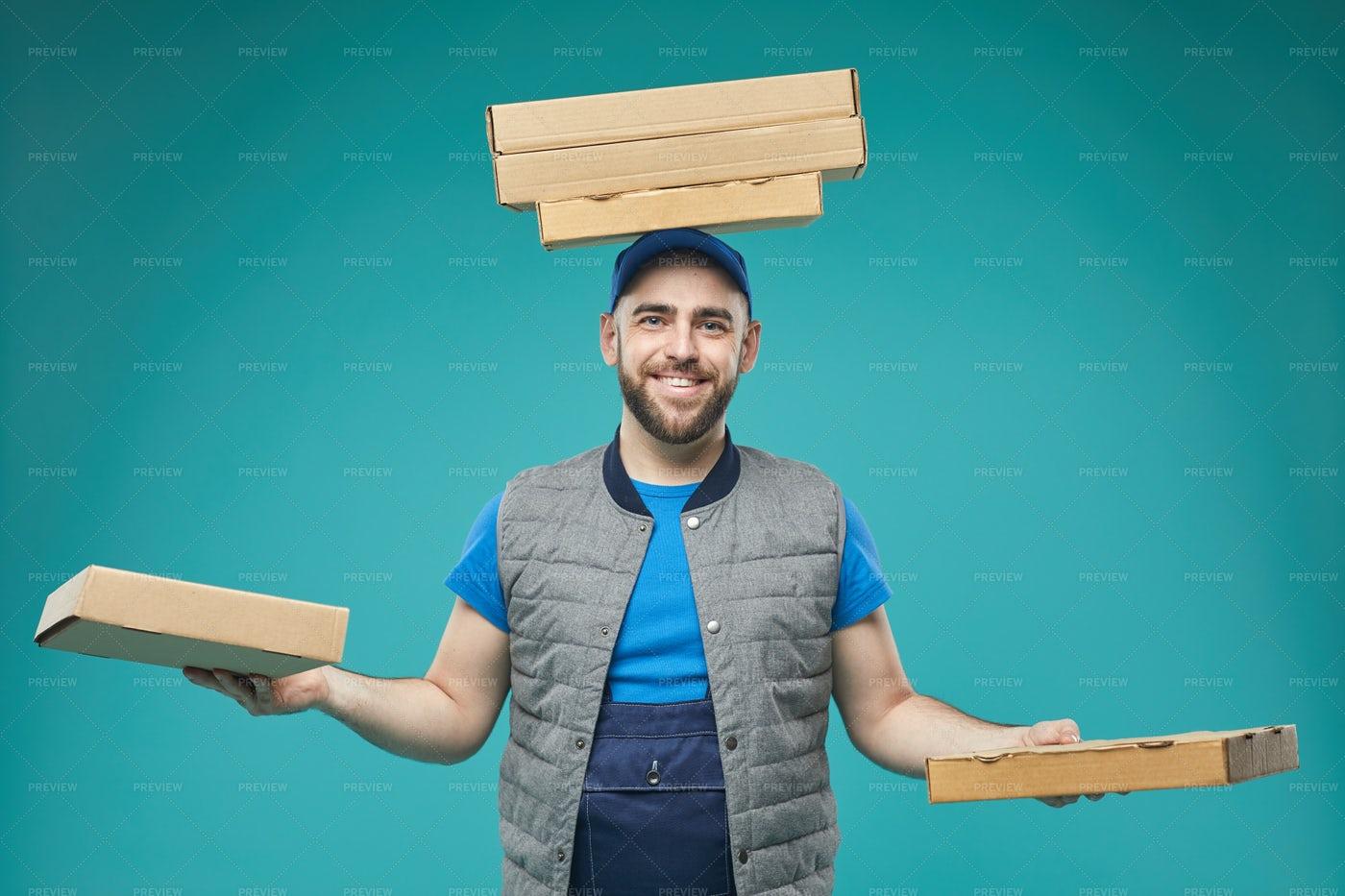 Pizza Guy Humorous Portrait: Stock Photos