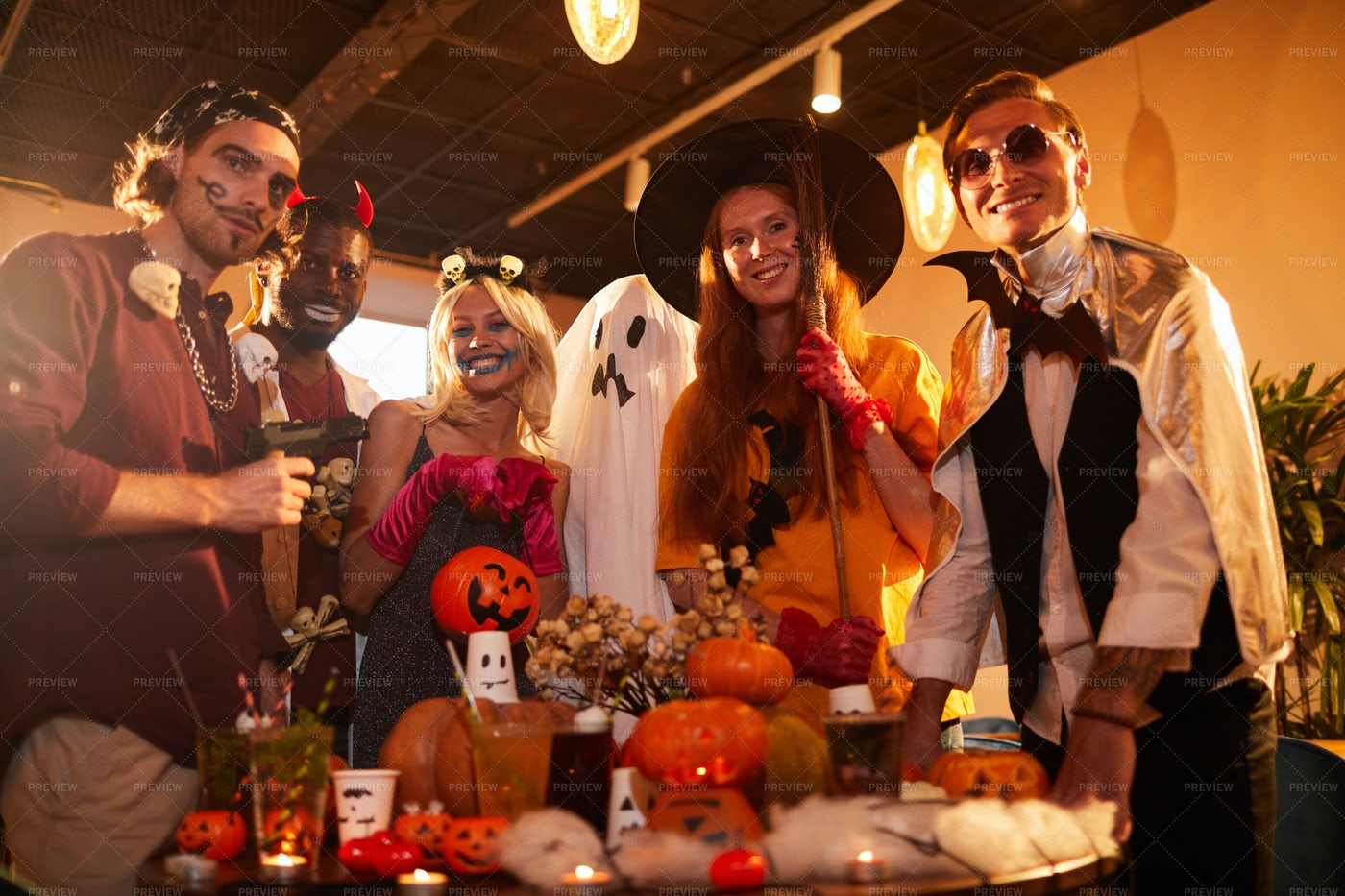 Friends At Halloween Party: Stock Photos