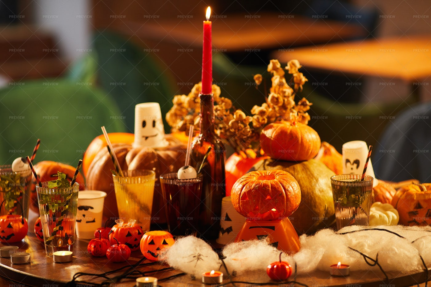 Festive Halloween Decorations: Stock Photos
