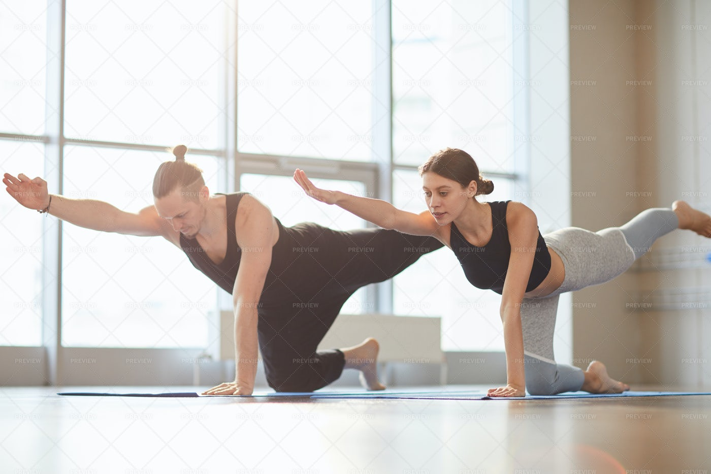 Lengthening Spine With Table Pose: Stock Photos