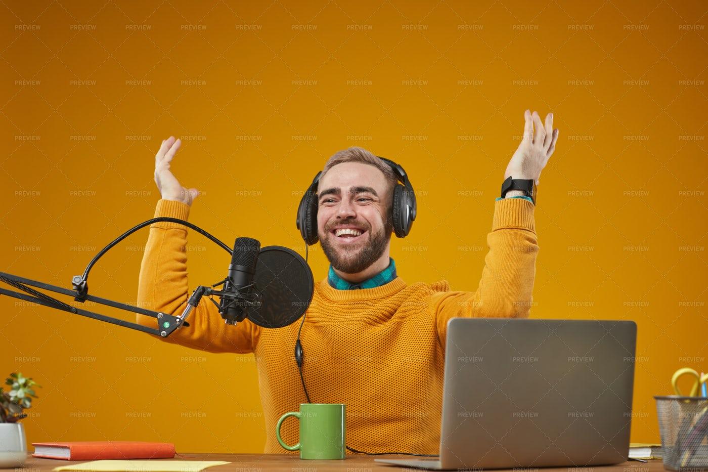 Radio Presenter During Work: Stock Photos