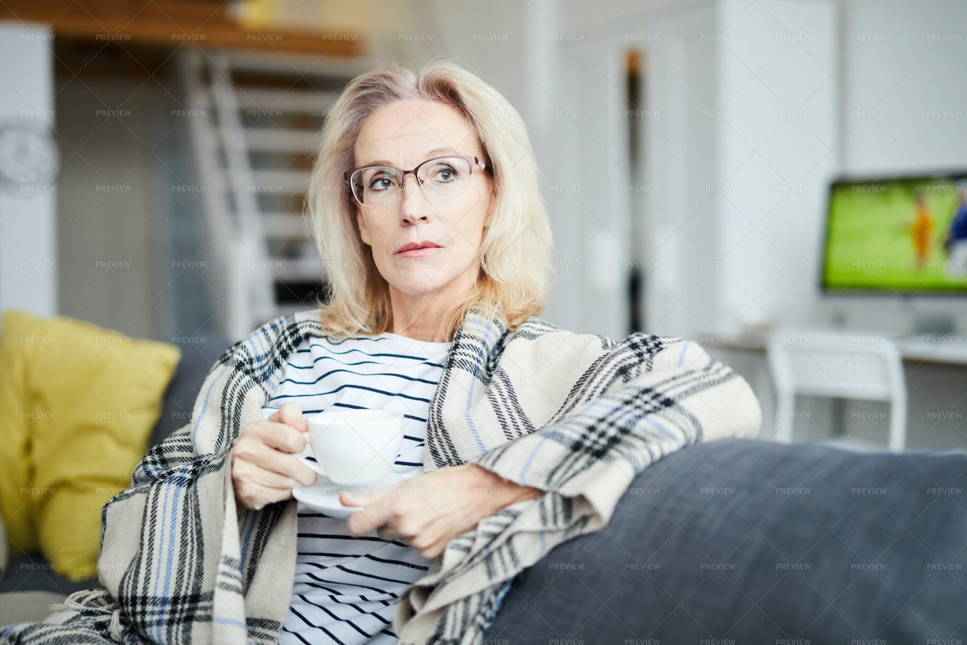 Pensive Adult Woman At Home: Stock Photos