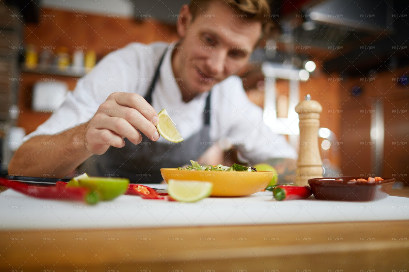 Closeup Professional Chef Serving...: Stock Photos