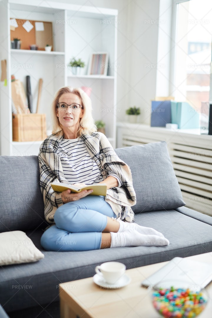 Adult Woman Relaxing At Home: Stock Photos